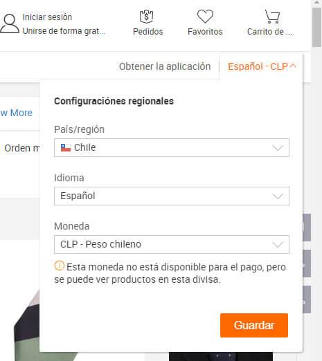 pagar en alibaba en pesos chilenos