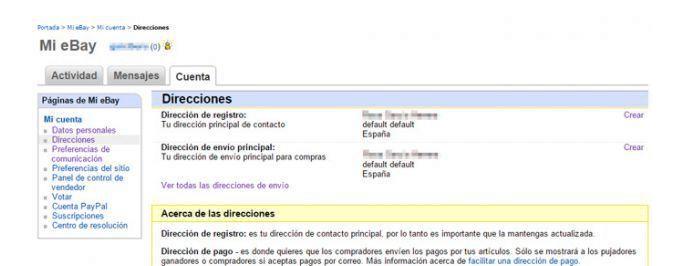 configurando cuenta en ebay